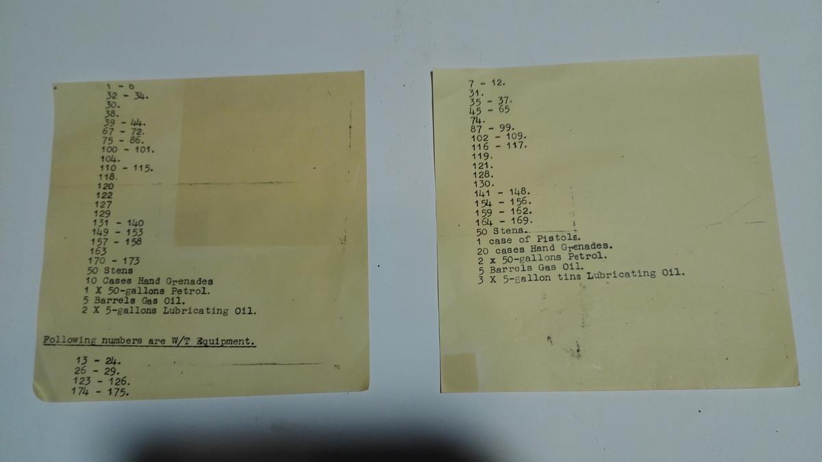 To maskinskrivne ark med liste over krigsmateriell sendt frå Shetland til heimestyrkane i Sogn 1944/45.