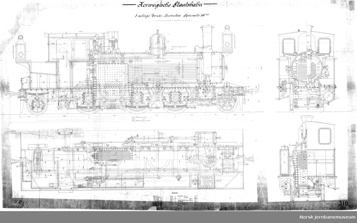 """NSB damplok type X, smalt spor Norwegische Staatsbahn, 5 achsige Tender-Locomotive, Spürweite 3' 6"""" engl.  Tegning 310/125"""
