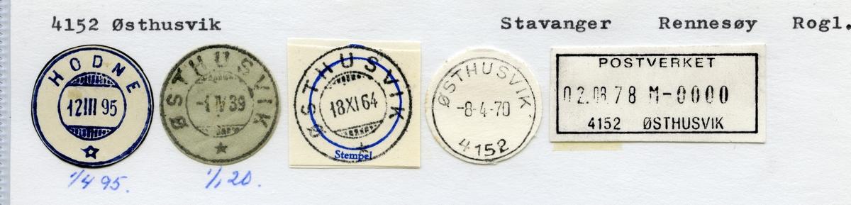 Stempelkatalog  4152 Østhusvik, Rennesøy kommune, Rogaland (Hodne 1.4.1895)