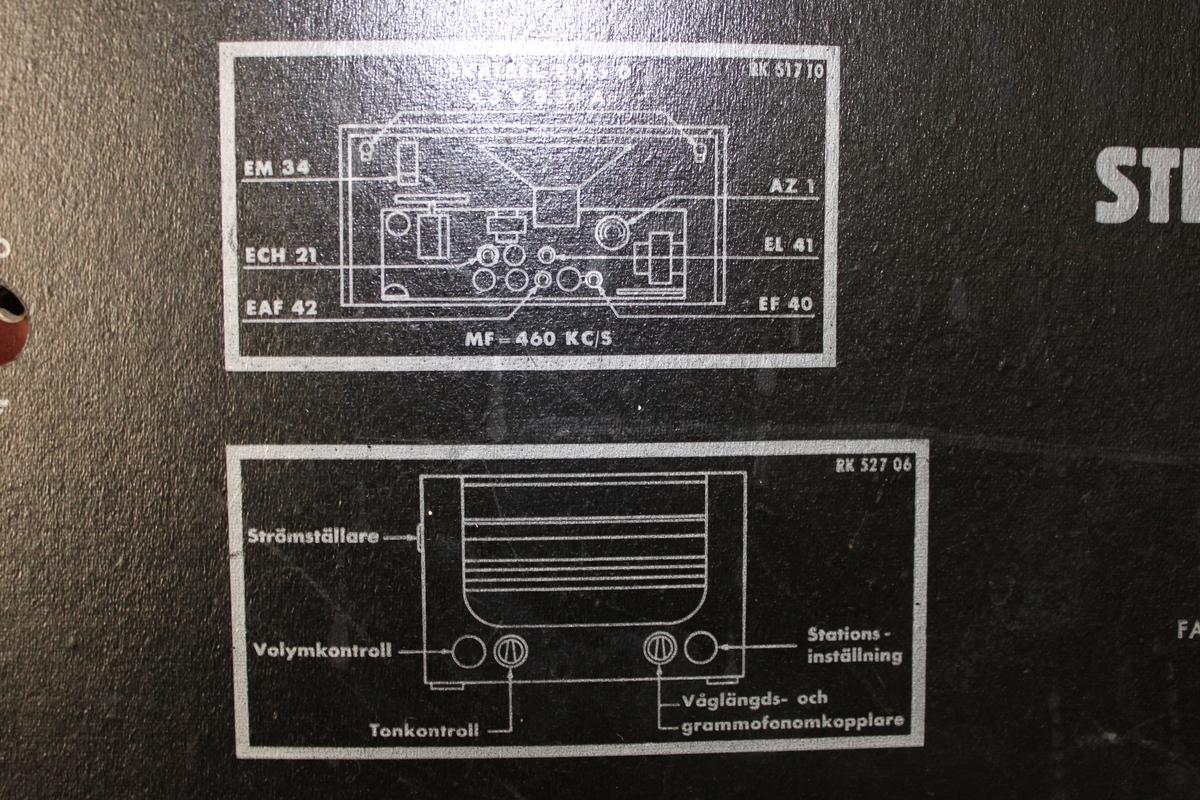 Radio i trä av modell Concerton Typ V551. Tillverkare Stern & Stern. På baksidan finns instruktioner över alla knapparna. På insidan sitter en klisterlapp med numret 370383, 370383 på, troligtvis serienummer.