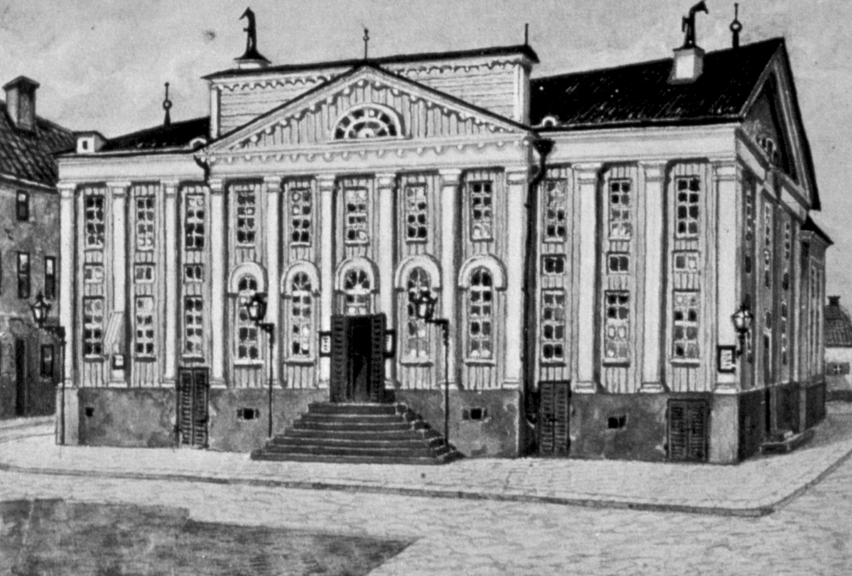 Orig. text: Linköpingsbilder ur böcker. Assemblée- och spektakelhuset.Assemblé och Spektakelhuset, teater nedriven år 1901.Byggnaden stod färdig 1806. Byggmästare Caspar Seurling uppförde huset efter egna ritningar. Sista föreställningen ägde rum den 3 maj 1901. Teatern innehäll även en uppskattad restaurang kallad Stadshuskällaren som under 1860- och 70- talen drevs av A P Andersson, mer känd som Bonn på Druvan.Idag finns gamla Riksbankshuset på denna plats.