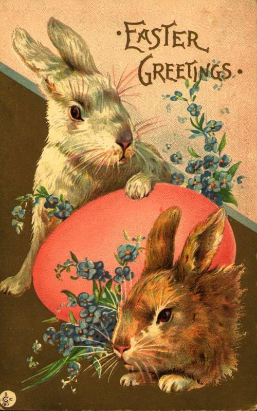 Skikken med å hente egg frå påskeharen, stammar frå Sveits og Tyskland på 1700-talet. Påskekort frå Norsk Folkemuseum si samling.