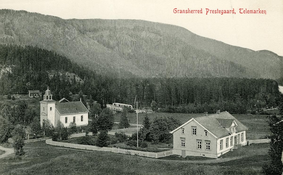 Postkort med motiv av Gransherad prestegård, Telemark