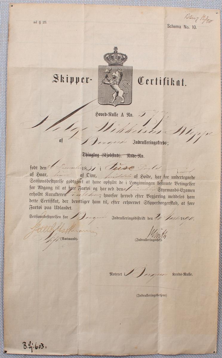 Skippersertifikat tildelt Helge Mikkelsen Kleppe utstedt den 20. mars 1890.