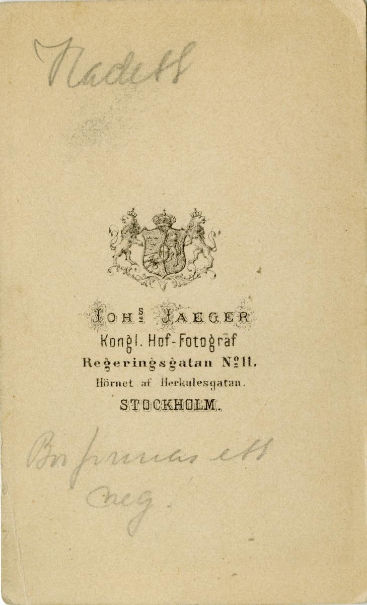 Porträtt av friherre Gottlob Fredrik Alarik Rehbinder, kadett 1861-66.