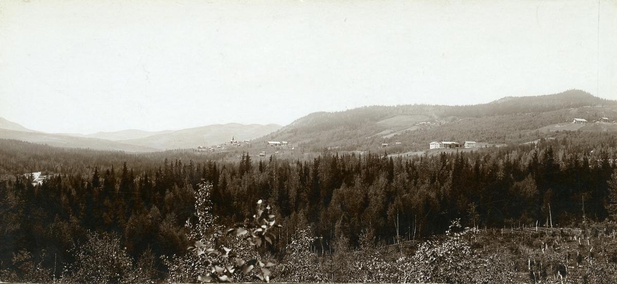 Utsyn over Hedalen, med Hedalen stavkyrkje midt i biletet.