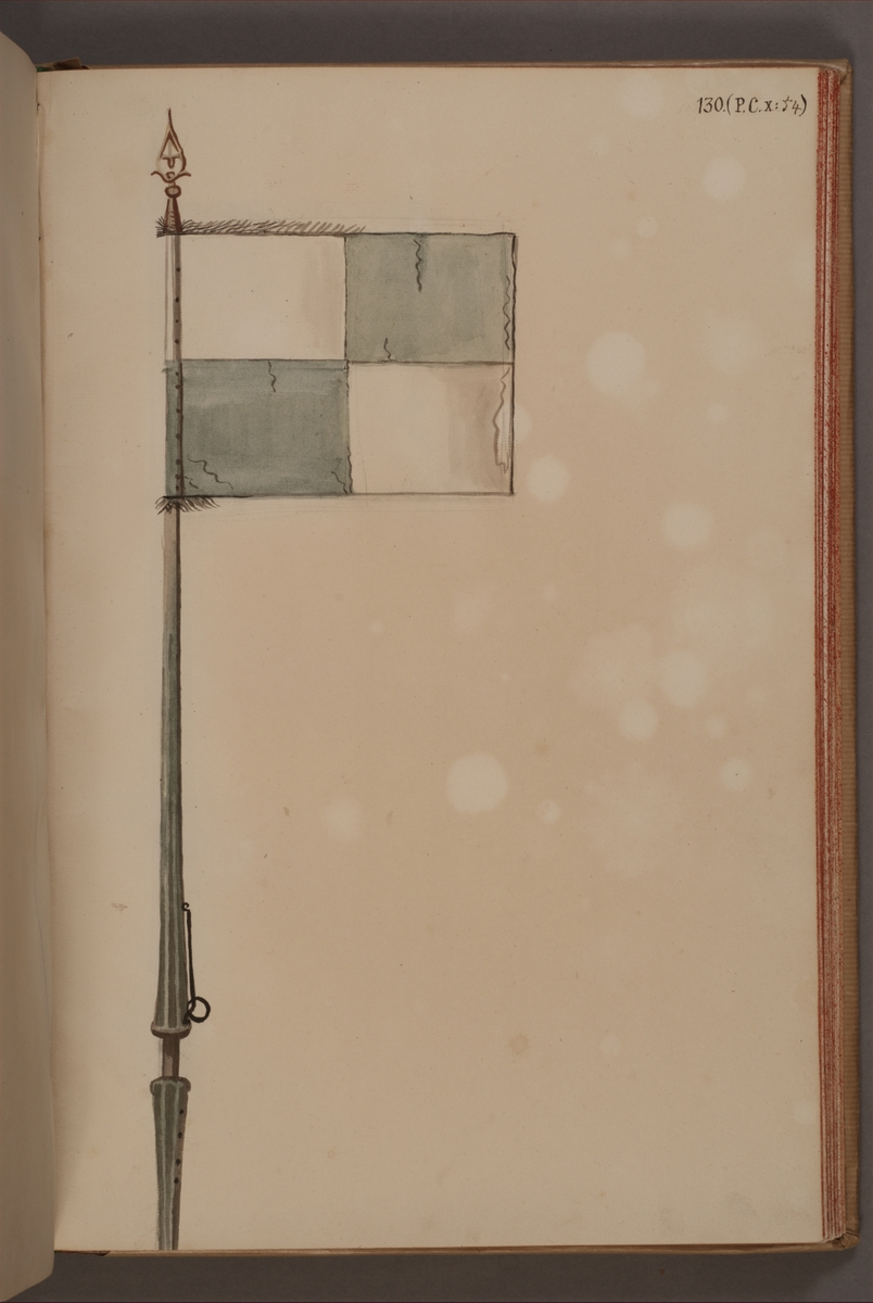 Avbildning i gouache föreställande fälttecken taget som trofé av svenska armén. Det avbildade standaret finns inte bevarat i Armémuseums samling.