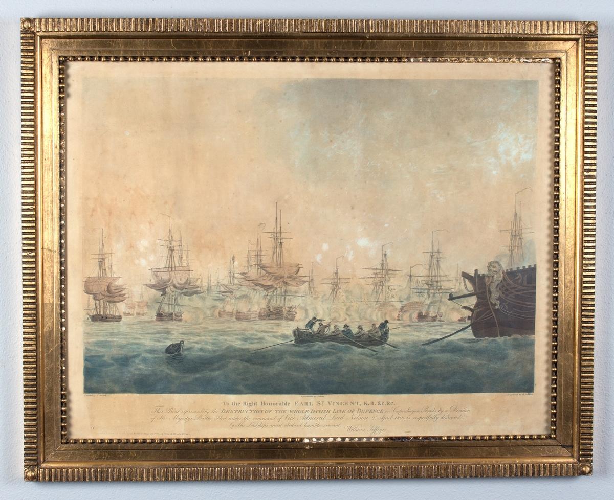 Trefninger mellom britiske og danske orlogsskip utenfor København i 1801. Midt i motivet en roslupp med syv mann ombord. Angrepet på Københavns red.