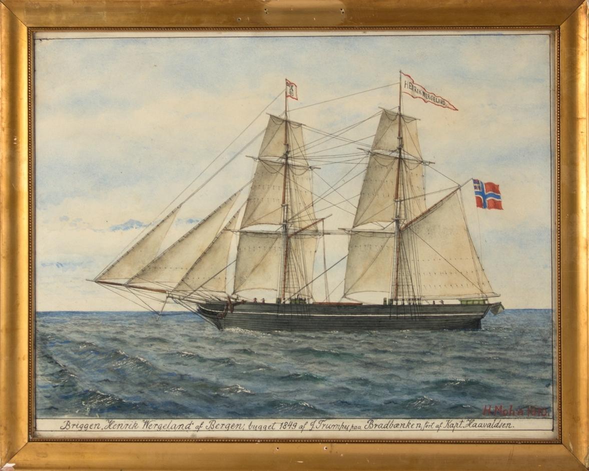Skipsportrett av briggen HENRIK WERGELAND med full seilføring. Unionsflagg ankter, samt vimpel i mast med navn HENRIK WERGELAND samt X93.