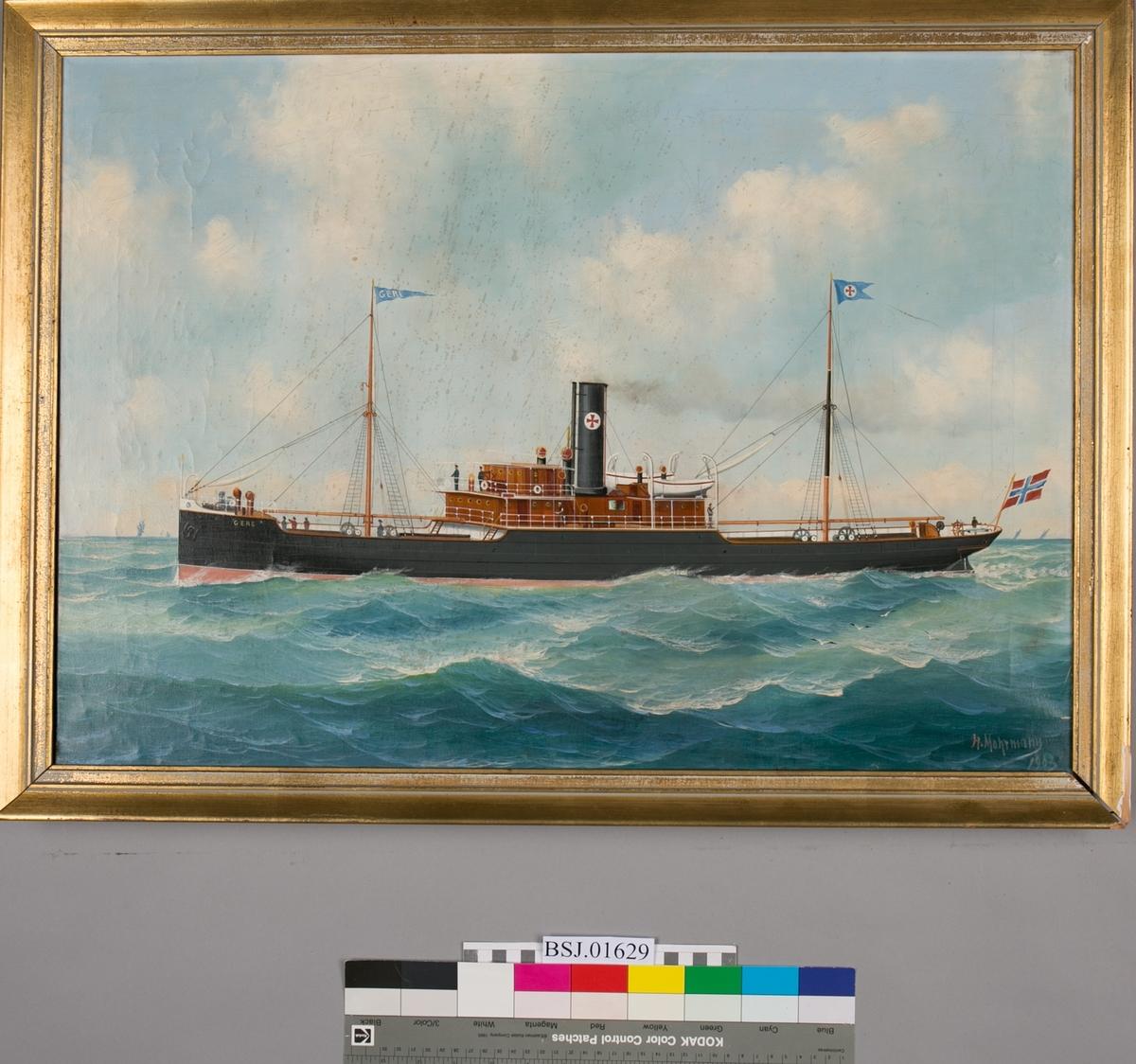 Skipsportrett av dampskipet GERE av Bergen under fart.