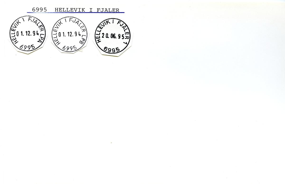 Stempelkatalog  6995 Hellevik i Fjaler, Fjaler kommune, Sogn og Fjordane (Navneendring : Inntil 1.10.1986 Gjølanger)