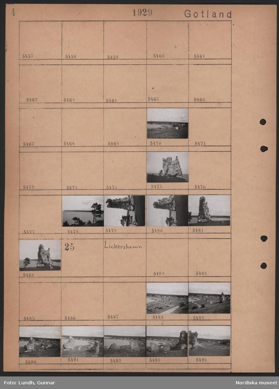Motiv: Gotalnd, Lickershamn, Utsikten;  Rauk, strand med sjöbod, landskapsvy med hav.  Motiv: Gotland, Lickershamn;  Hamn med bebyggelse, fornminne, landskapsvy.
