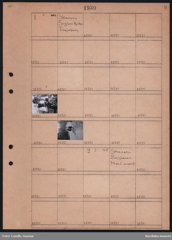 Motiv: Skansen, Seglora kyrtka,  Kvinna i folkdräkt.  Motiv: Skansen, Bergbanan, Nordiska museet; Ej kopierat.