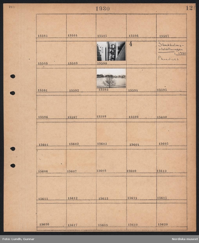 """Motiv: Milles """"Danserska"""", Egna hem; Människor sitter på en uteservering med namnet """"Ellida"""".  Motiv: Stockholmsutställningen 1930, Paradiset; Vy över utställningsområdet."""