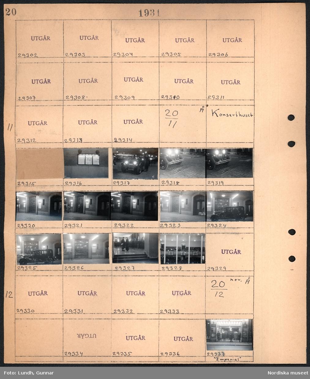 """Motiv: N.K. (NK) , Centrum (möjligen Centrumhuset) ; Ej kopierat;  Motiv: Konserthuset; Nattbild affischer, nattbild bil, nattbild detalj av hus, människor står i en foajé, publik sitter i salong.  Motiv: (ingen beskrivning) Nattbild människor står utanför en biograf """"Imperial""""."""