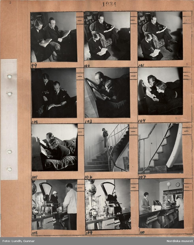 Motiv: En man och en kvinna som läser varsin bok både sittande och liggande på en säng, en kvinna i ytterkläder går nedför en svängd trappa inomhus, detalj av en inomhustrappa, interiör med butiksdisk, våg, kassaapparat, expedit och kvinnliga kunder.