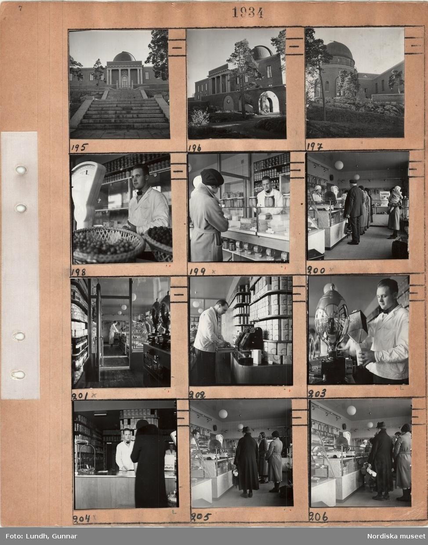 Motiv: Exteriör Saltsjöbadens observatorium, interiör livsmedelsbutik med disk, våg, expediter och kunder.