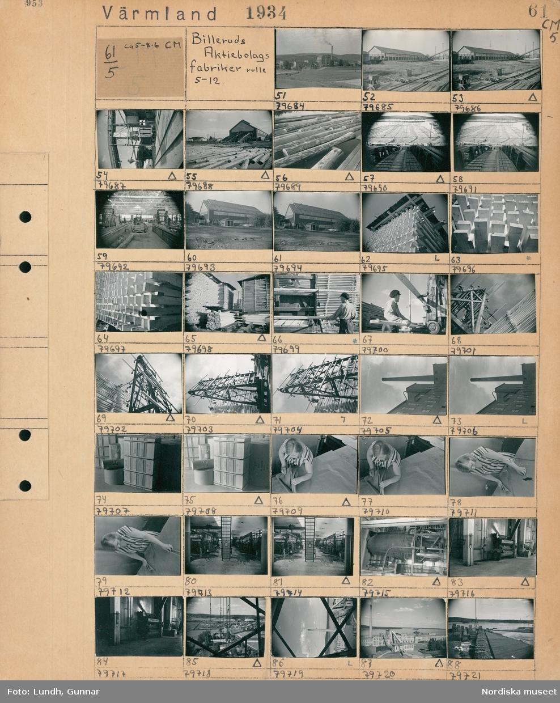 Motiv: Värmland, Billeruds Aktiebolags fabriker rulle 5-12; Landskapsvy med bebyggelse och fabriksbyggnader, vy över industriområde med byggnader och räls, interiör av en fabrik, staplade trävaror, en man arbetar vid en maskin, en kvinna arbetar vid ett bord, interiör av en fabrikslokal med maskiner.