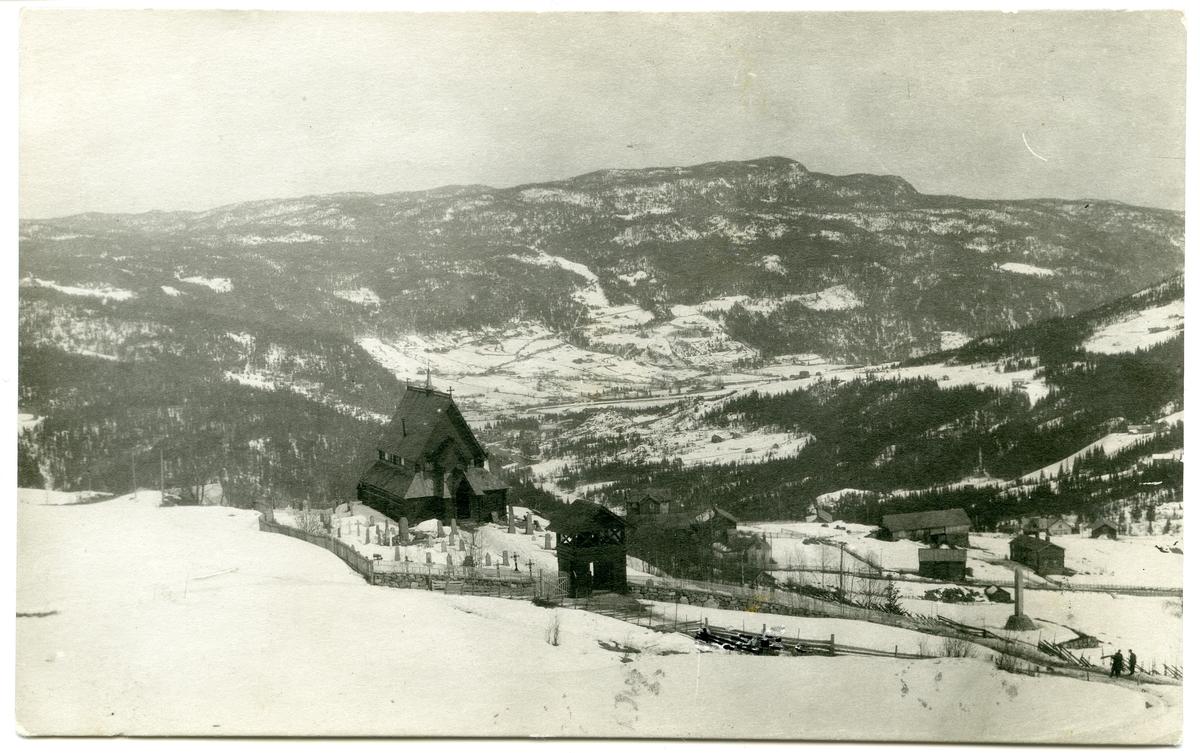 Postkort. Reinli stavkyrkje, med utsikt sør-østover mot Bagn, Sør-Aurdal.