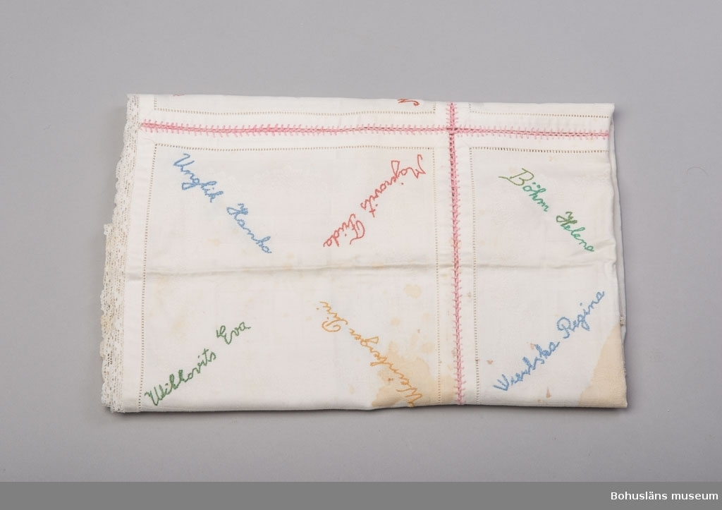 Duk sammanfogad av nio vita servetter med 36 broderade namn i kulörta garner. Maskinvävda mönstrade servetter med hålsöm i kanten vid fållen. Servetterna sammansydda med rosa garn i kråkspark, en variant av langett. Servetterna mäter 24 x 24 cm. Duken är kantad med en smal maskinknypplad spets. Fläckar och vikningar.