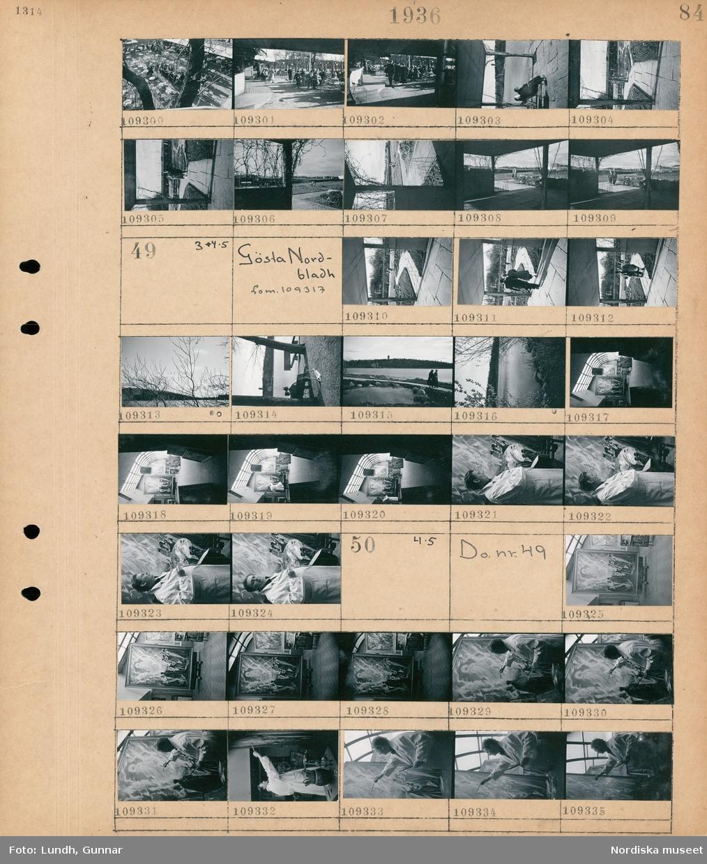 Motiv: Källhagens värdshus; Vy över uteservering med gäster, två kvinnor sitter på en parksoffa.  Motiv: Gösta Nordbladh fom. 109317; En man och en kvinna går på en stensatt gång, en kvinna och en man sitter på en parksoffa, landskapsvy med vatten, interiör av en konstnärsateljé, en man målar en tavla.   Motiv: Gösta Nordbladh fom. 109317; Interiör av en konstnärsateljé, en man målar en tavla med religiöst motiv.