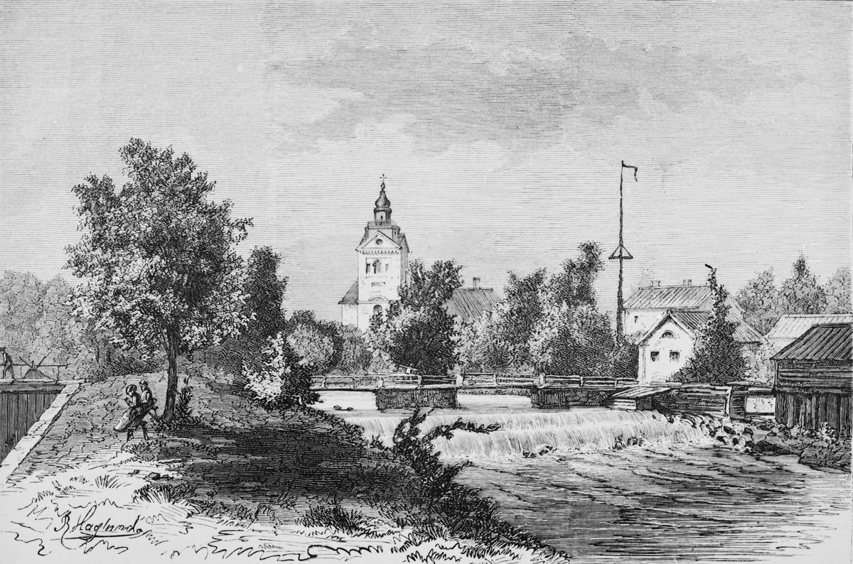 Järnbruk vid Strömsholms kanal. Fotograferat träsnitt 1871 efter teckning av P. Haglund.