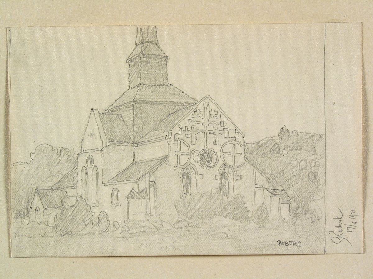 Teckning av Ferdinand Boberg. Östergötland, Hammarkinds hd., Skällviks kyrka