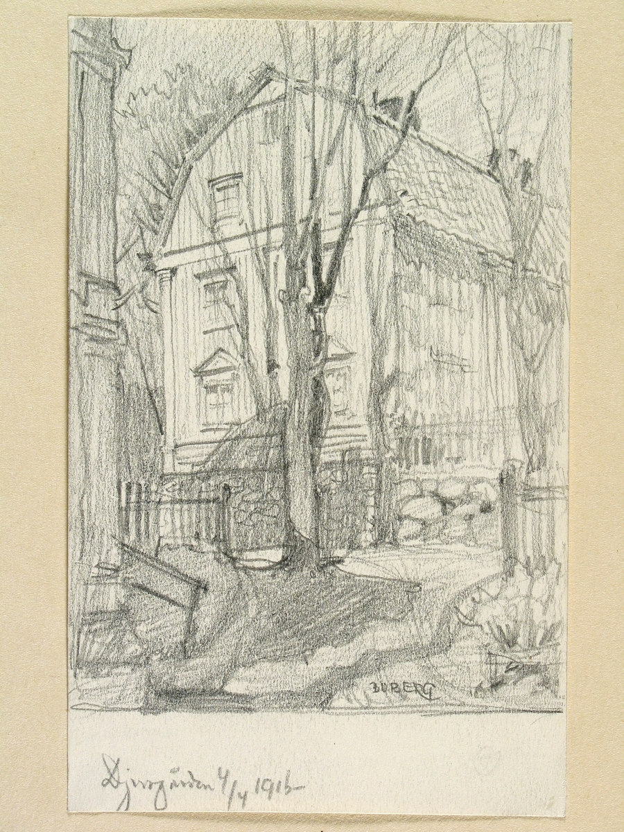 Teckning av Ferdinand Boberg. Stockholm, Djurgården , Djurgårdsslätten