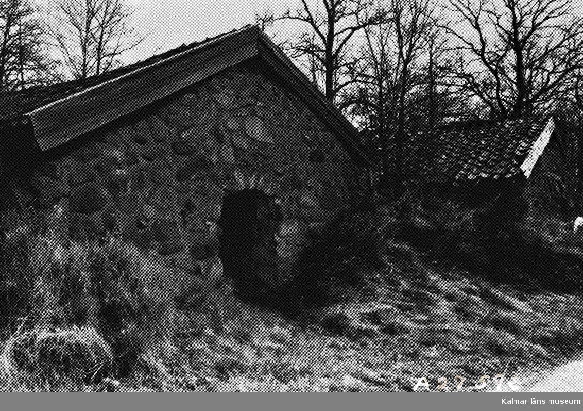 Källare belägna vid bygatan på samfälld mark. Rapport över kulturhistorisk inventering av Kalmars närmaste omgivningar 1975.