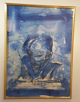 Selvportrett. Ca. 1985. Blandet teknikk (kull/ akvarell) på papp. 148x108 m. Kr. 108.333