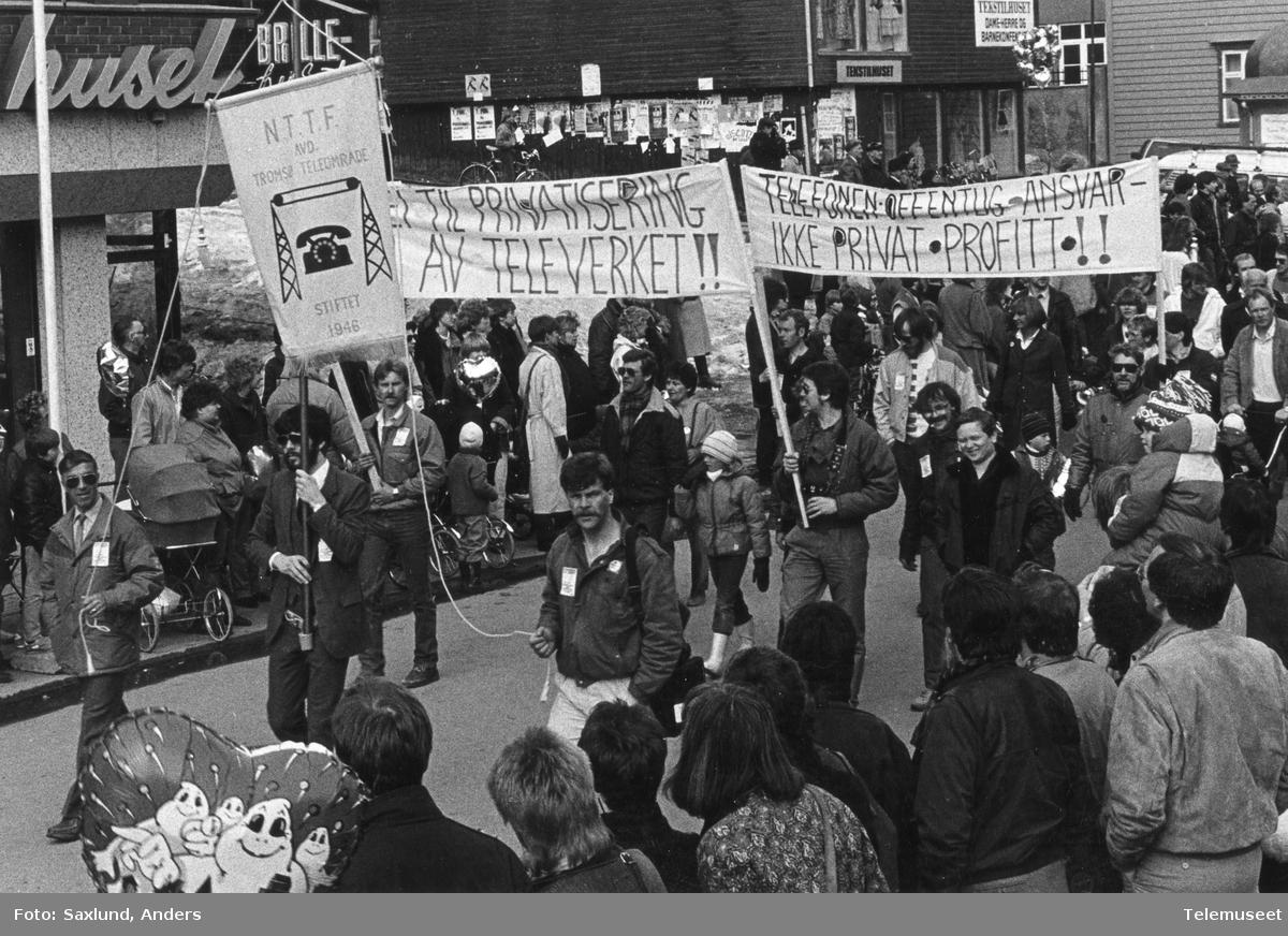 NTTF demonstrasjonstog mot privatisering av Televerket