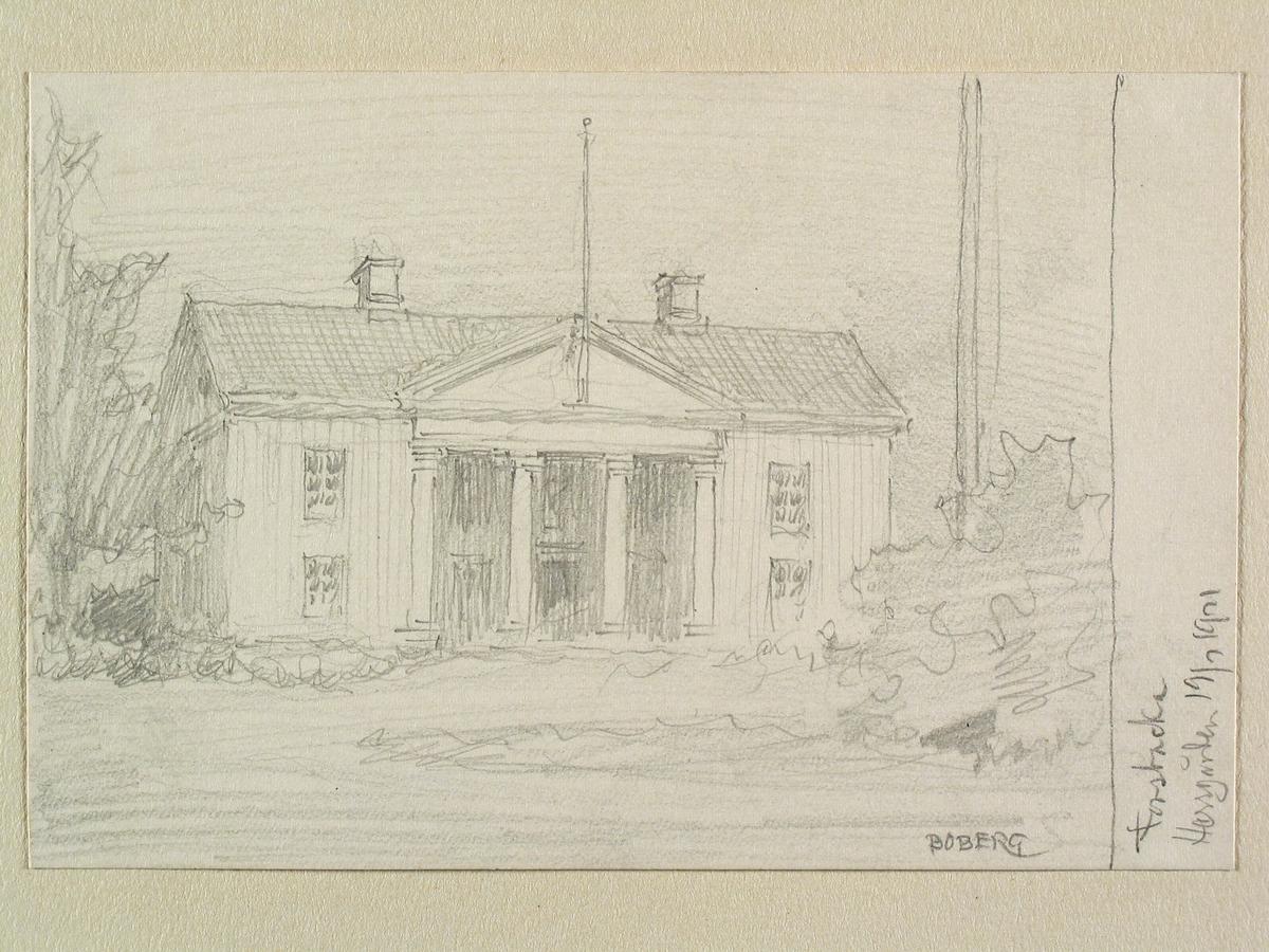 Forsbacka herrgård, Dalsland. Teckning av Ferdinand Boberg