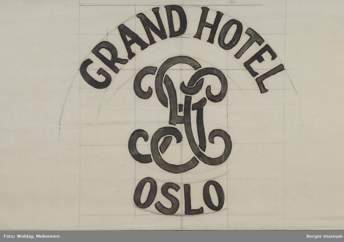 GRAND HOTEL, OSLO. GH (logo). Mønster for ullteppe.