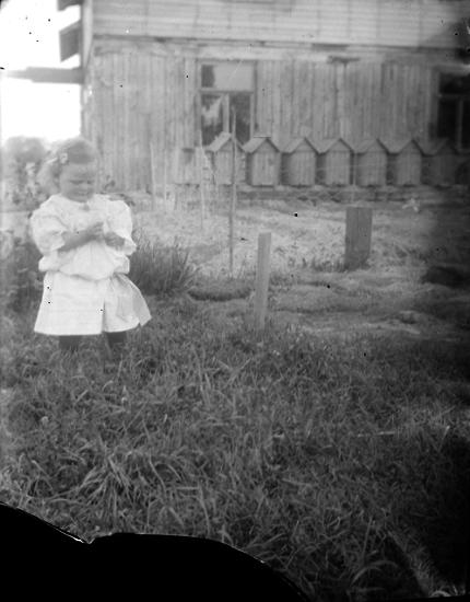 Exteriör.Vitklädd flicka framför hus och bikupor. Fotograf: Ellen Kock? Axel Lundbäck m.fl.Gullspångssamlingen.Bilder från Gullspång med omnejd.