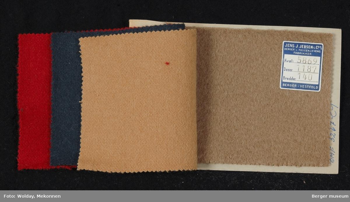 Prøvehefte med 4 prøver Kåpe Kvalitet 5869 Stykkfarget