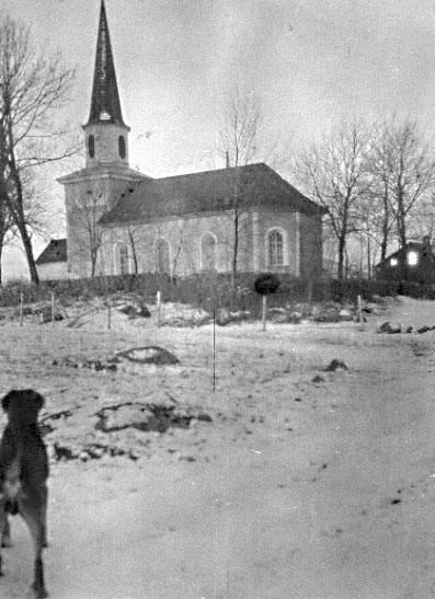 Bildtext: Västergötland.  Flistads kyrka.  Från söder.