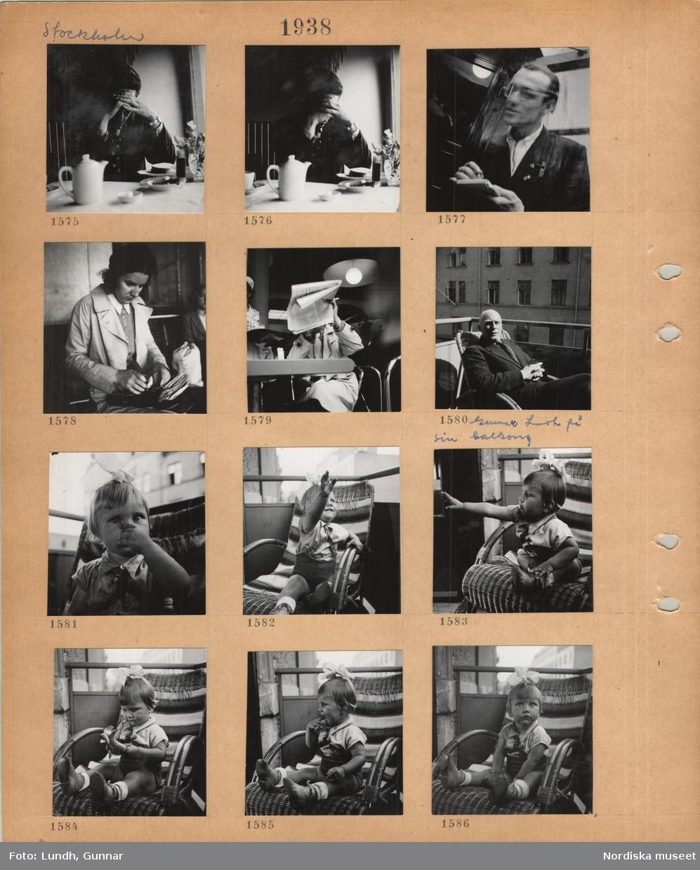 Motiv: Stockholm, man sitter vid ett bord på en servering, en man i kostym med anteckningsblock, en kvinna i kappa sitter på en bänk, en man i ljus rock sitter och läser en tidning och röker en cigarett, en man i kostym, Gunnar Lundh, sitter på sin balkong i stadsmiljö, en liten flicka med rosett i håret sitter i en stol på en balkong.