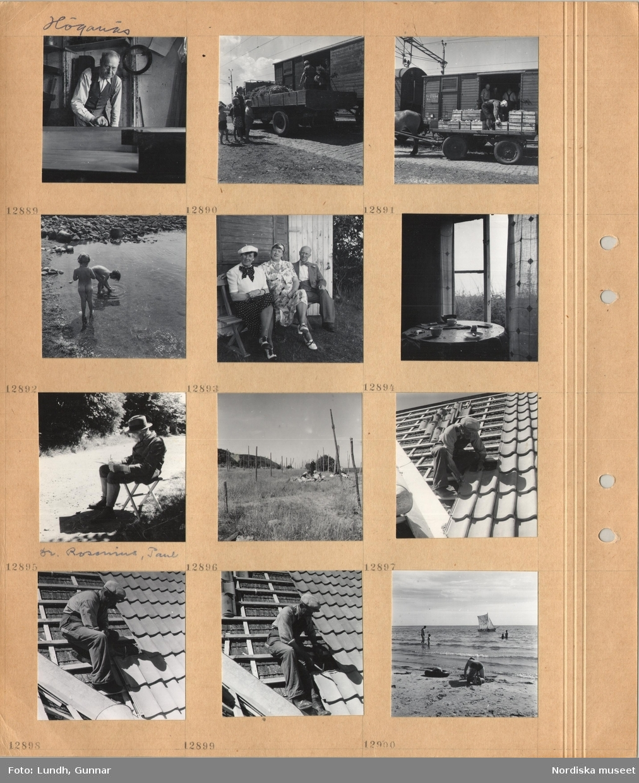 Motiv: Höganäs, äldre man med skyddsförkläde i en verkstad, jordbruksprodukter lastas över från lastbil och hästdragen kärra till godsvagn, två små nakna flickor vid strandkant, två kvinnor och en man troligen Astor Lundh sitter på en trädgårdsbänk, kaffekoppar på ett bord vid öppet fönster, gardiner, en man, dr Paul Rosenius, sitter på fällstol utomhus och skriver eller tecknar, gistgård med solande personer, en man lägger tegelpannor på ett tak, sandstrand med badande personer, segelbåt.