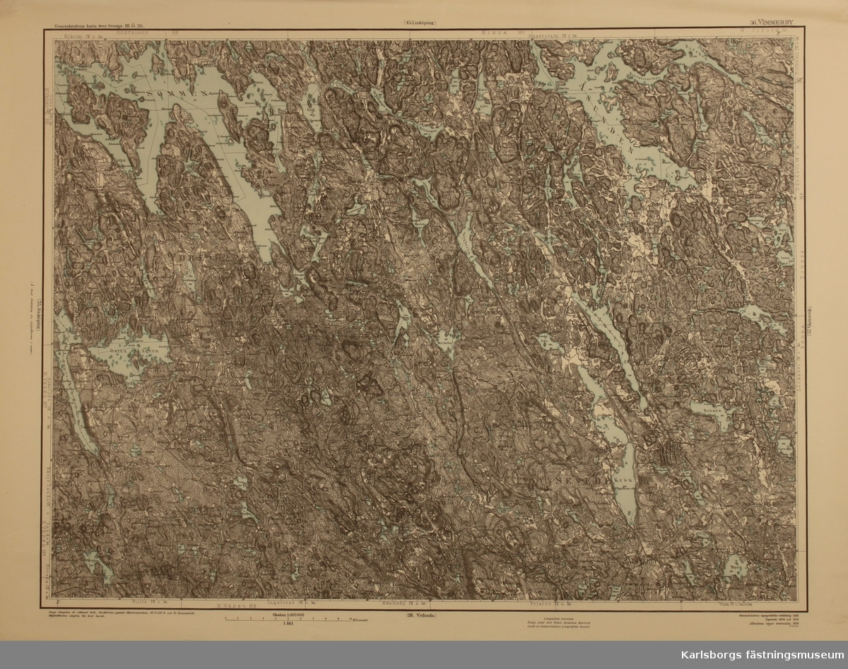 Karta Sverige Vimmerby.Karta 1 100000 Karlsborgs Fastningsmuseum Digitaltmuseum