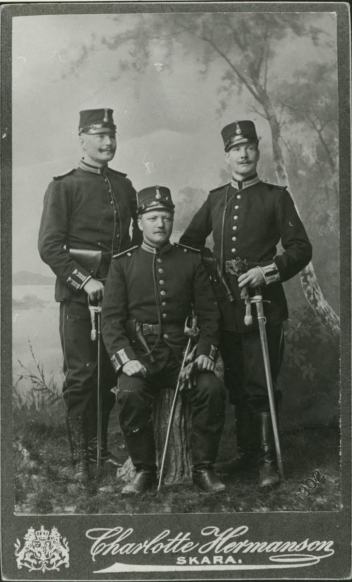 Grupporträtt av soldater vid Skaraborgs regemente I 9.