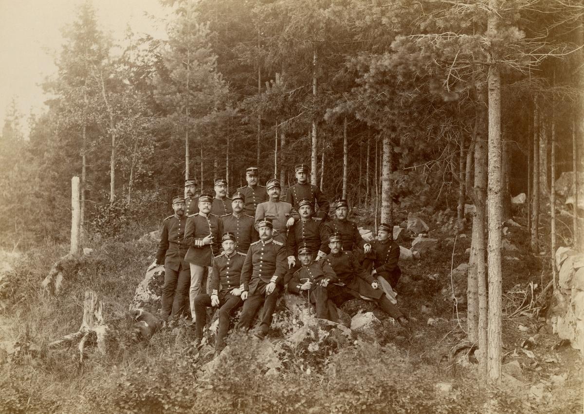 Officerare från olika regementen samlade i skogen vid Laxön.