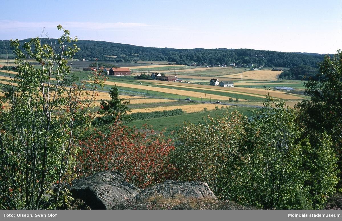 Fässbergs by från Eklanda borg i Mölndal, år 1965. I bakgrunden Balltorp.