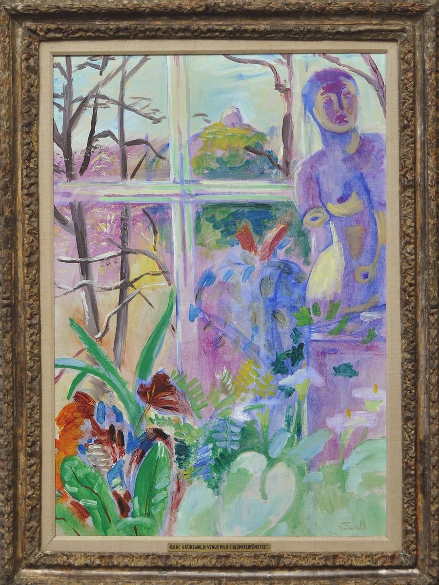 """Oljemålning, olja på duk, """"Venus Milo i blomsterfönstret"""" av Isaac Grünewald. Venus Milo staty invid fönster med olika blommor t.v."""