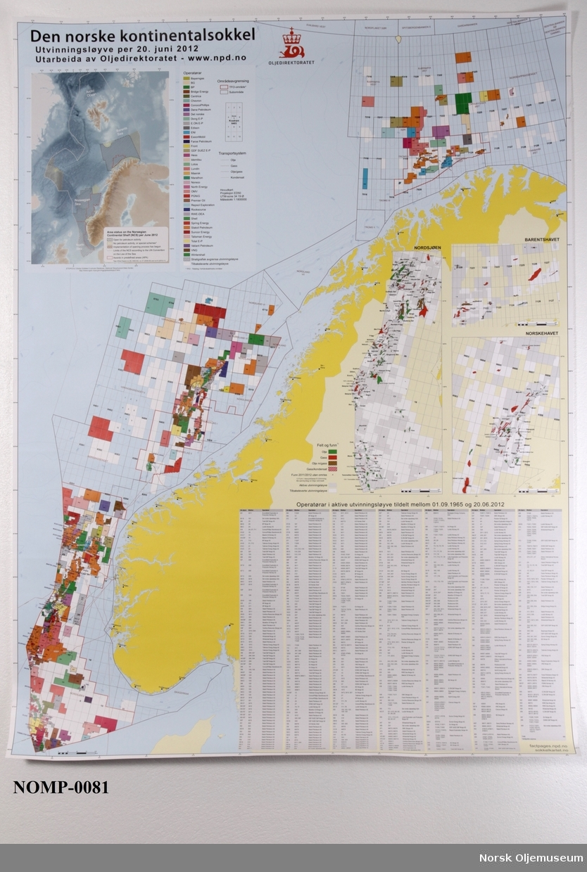 Kart over den norske kontinentalsokkelen. Stående format