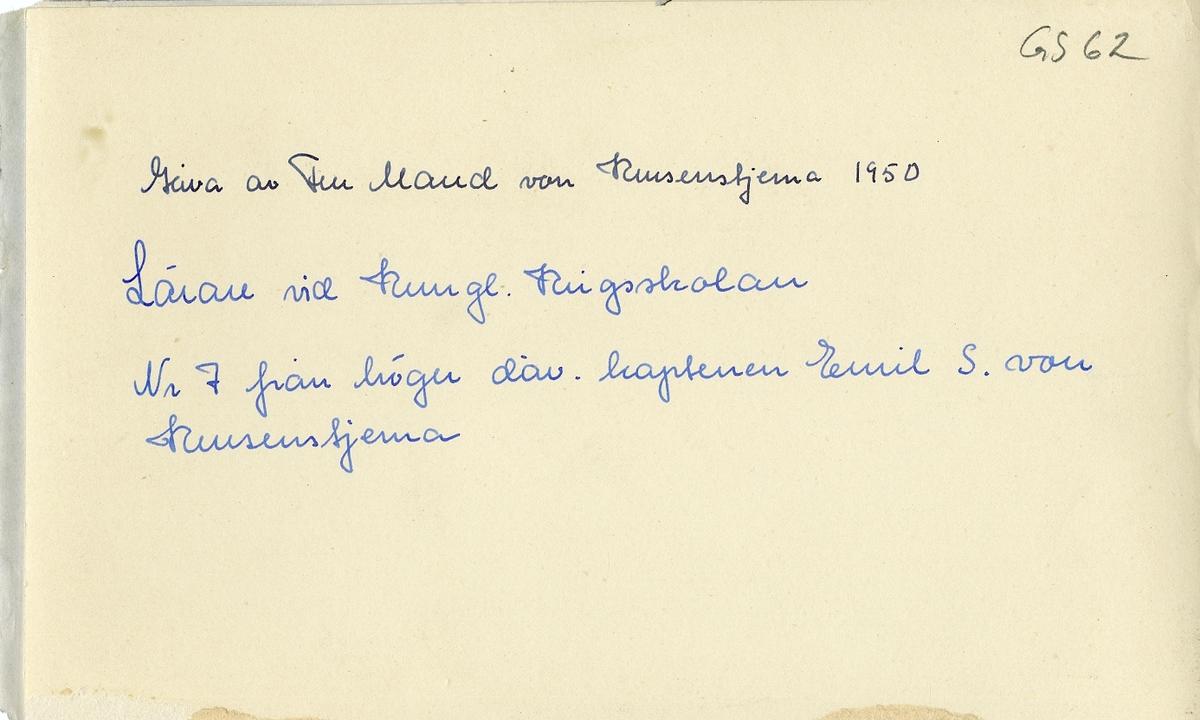 Grupporträtt av lärare vid Krigskolan Karlberg.
