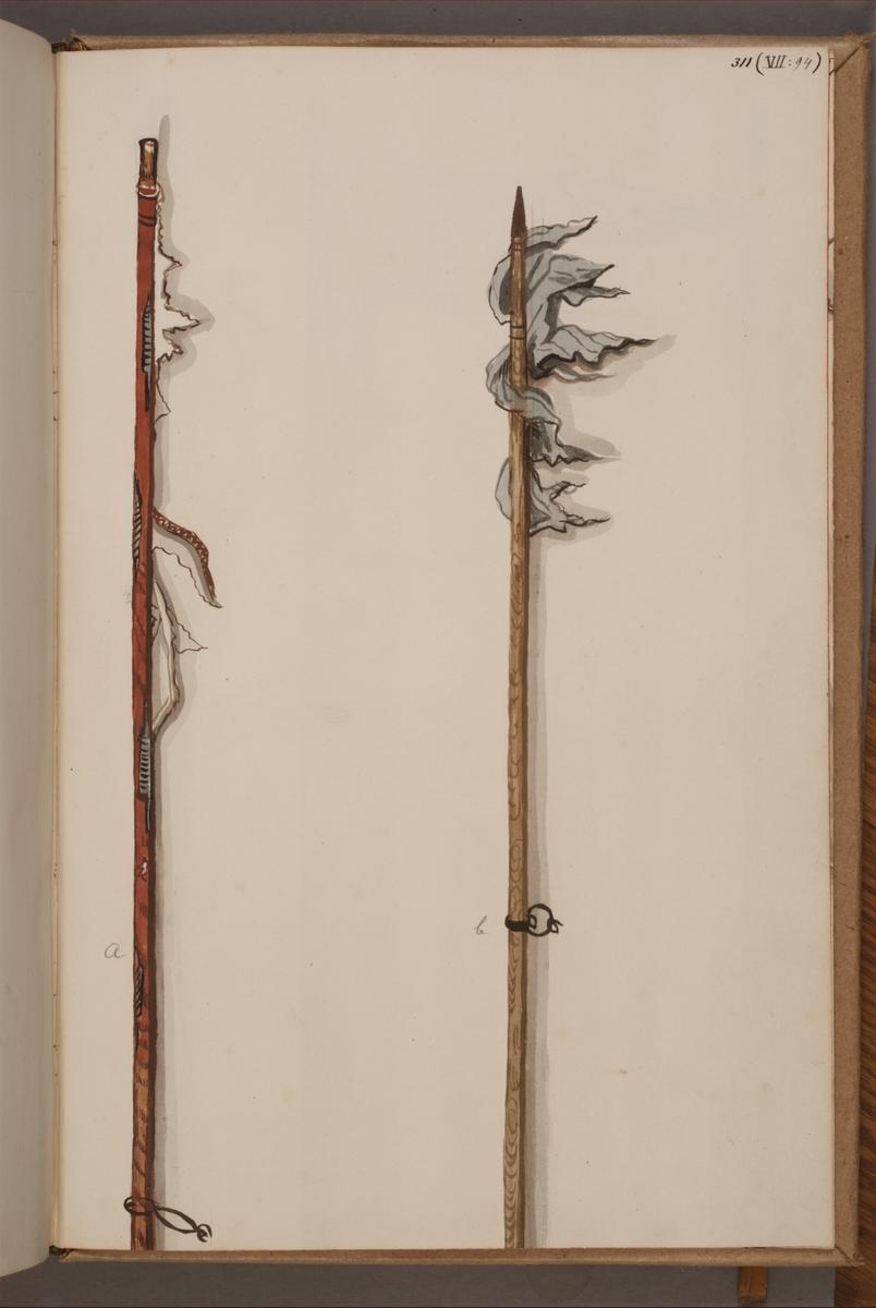 Avbildning i gouache föreställande fanstänger tagna som troféer av svenska armén. De avbildade stängerna finns bevarade i Armémuseums samling, för mer information, se relaterade objekt.