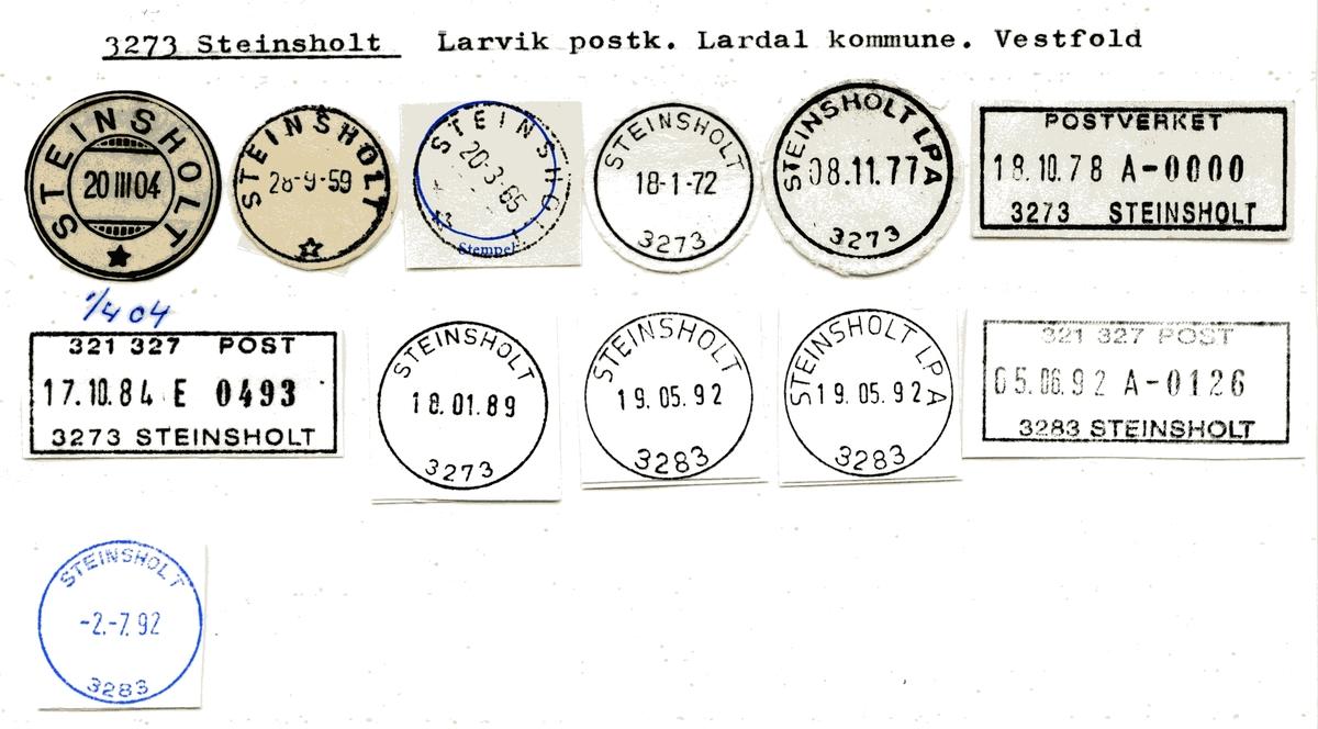 Stempelkatalog  3273 Steinsholt, Lardal kommune, Vestfold