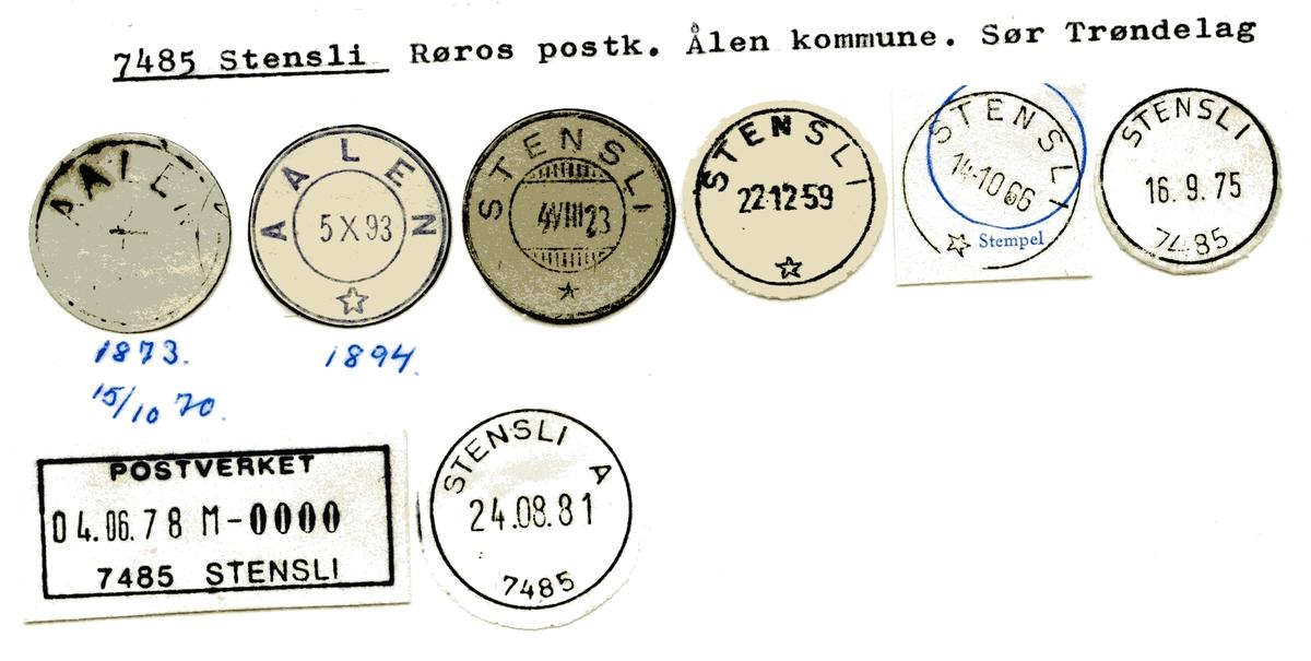 Stempelkatalog  7485 Stensli, Røros kommune, Sør-Trøndelag (Aalen)