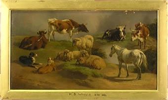 """Enligt liggaren: """"Djur"""", häst, kor, får, hundar. Enkel, förgylld träram. Konstnär: Henry-Britton Willis (1808-1884). :: Montering/Ram: Monterad i förgylld ram."""