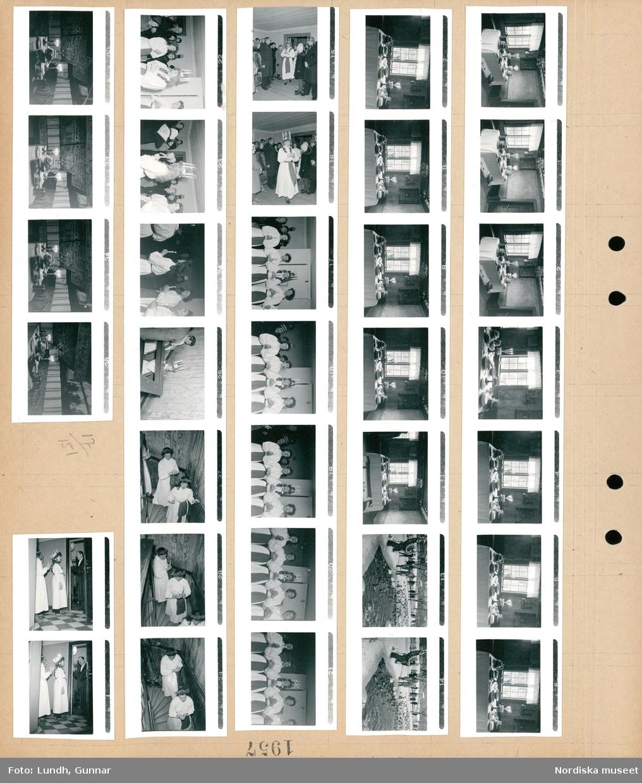 Motiv: (ingen anteckning) ; Interiör med ett uppdukat bord med mat, människor matar fåglar i en park med snötäckt mark, interiör med människor som tittar på ett Luciatåg, ett Luciatåg går i en trappa.  Motiv: (ingen anteckning) ; Interiör med ett Luciatåg i en trappa i ett hyreshus och en man i morgonrock som står i en dörröppning.